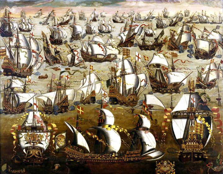 English School. 'English ships and the Spanish Armada, August 1588' 16th century
