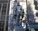 Miguel de Cervantes statue at the National Library