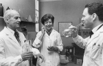Leloir (left) celebrating with colleagues December 10, 1970, after winning the Nobel Prize