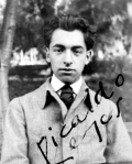 "Photograph of young Pablo Neruda (1904-1973) ""Ricardo Reyes"""