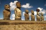 Six of the moai of an ahu (altar) in the Rapa Nui National Park on Isla de Pascua